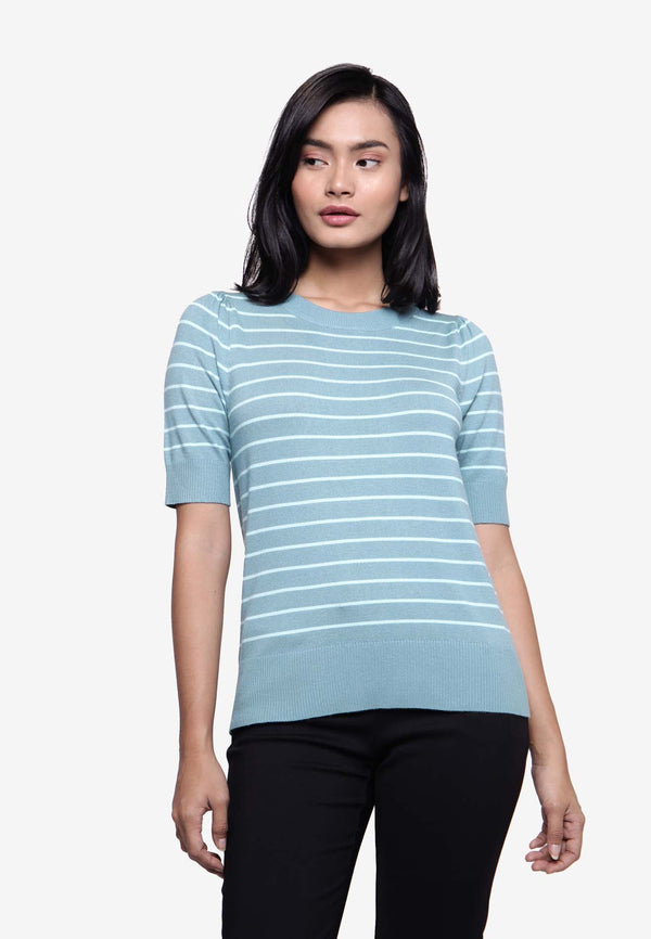 Stripe Slim Fit Top - Turqoise