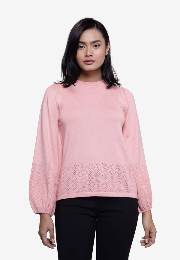 VOIR Clothing Pointelle Puff Sleeves Knit Top