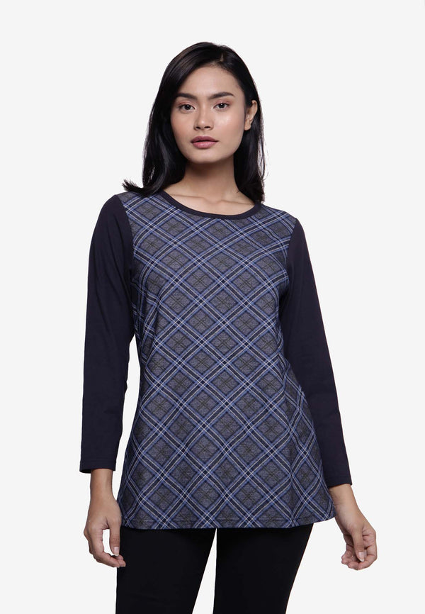 Asymmetrical Plaid Long Sleeve Top - Blue