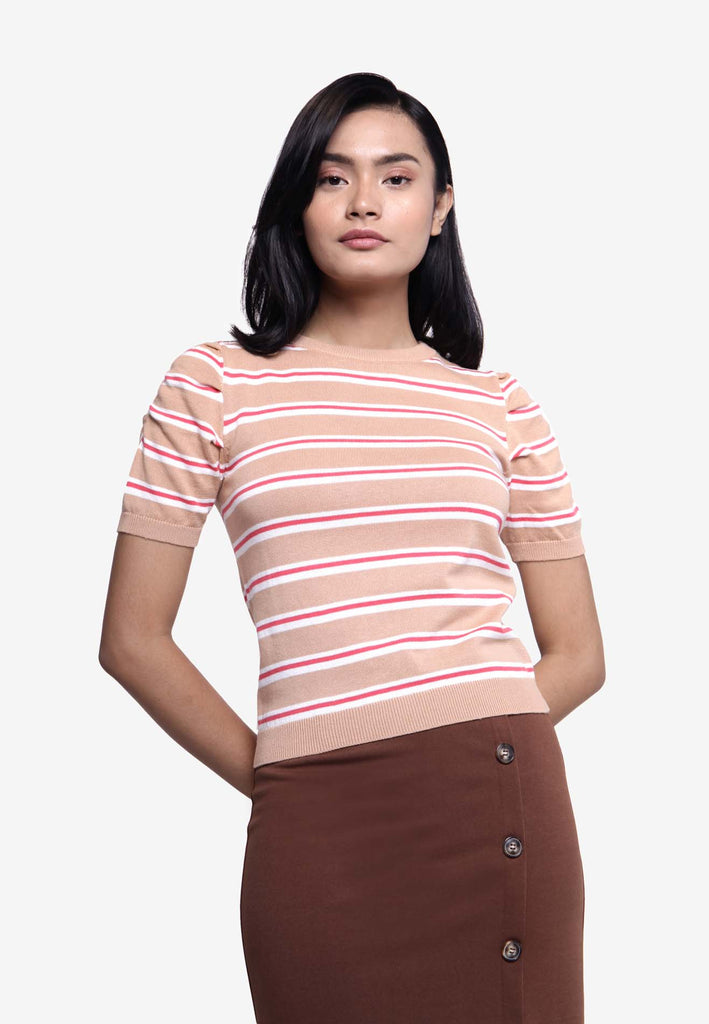 Striped Boat Neck Tee - Khaki