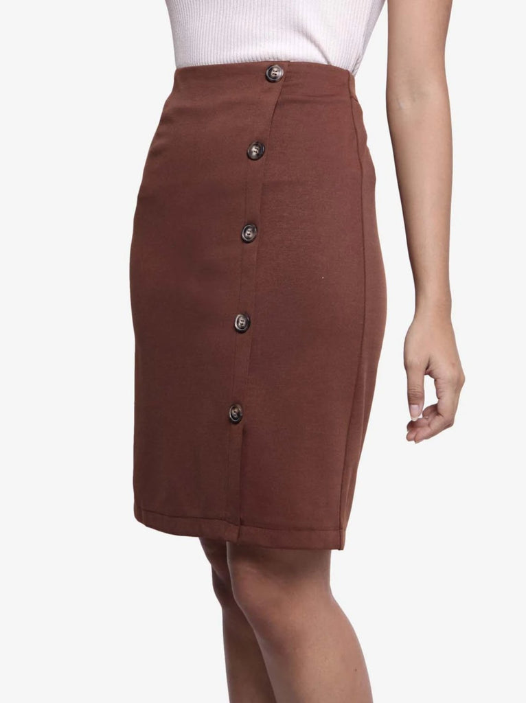 Button Down Pencil Skirt - Brown