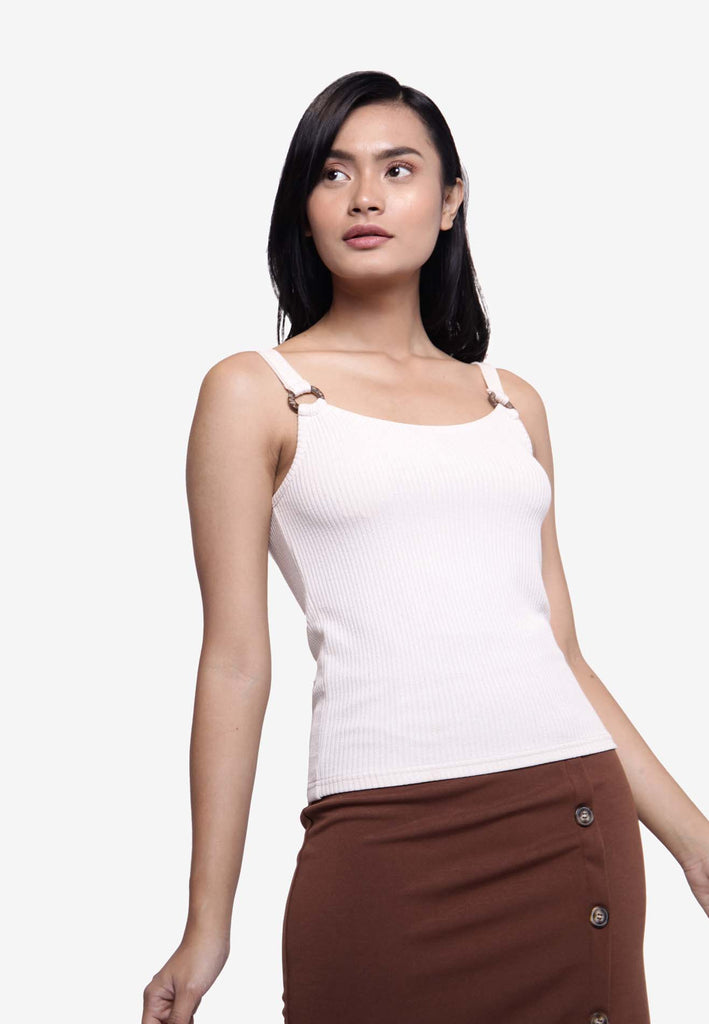 Ribbed Cami Top - Beige