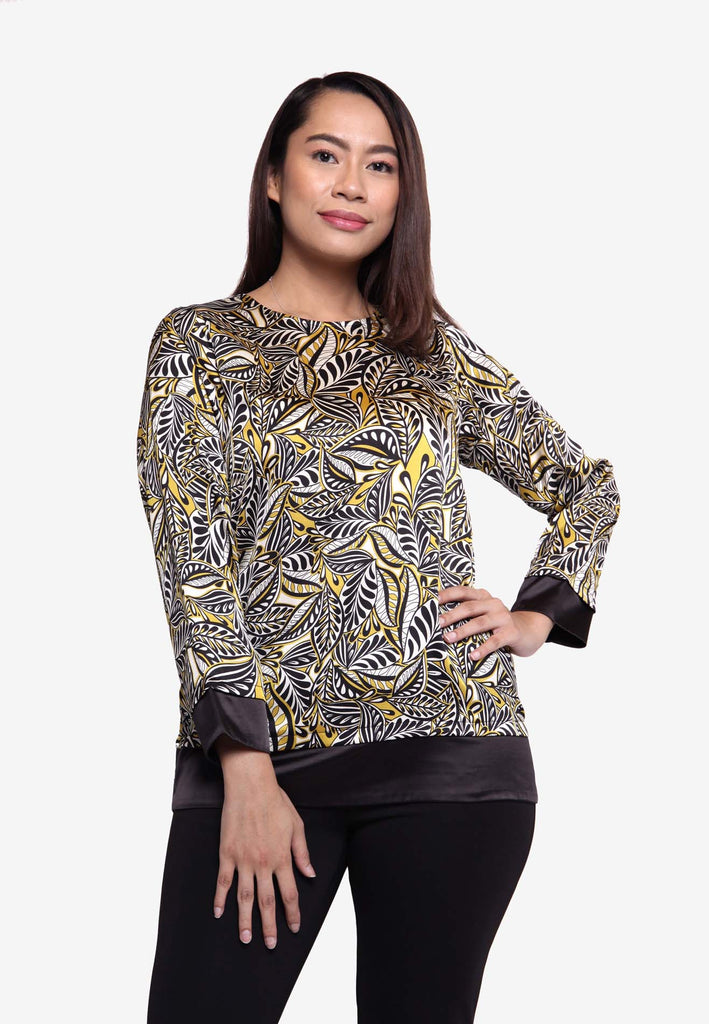 Batik Leaf Long Sleeve Top - Mustard