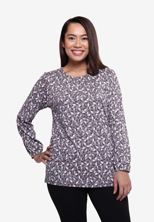 White Rose Long Sleeve Top - Grey