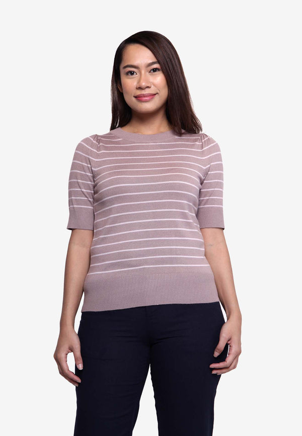 Stripe Slim Fit Top - Brown