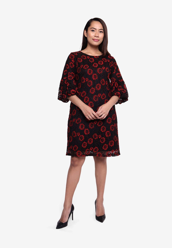 Choir Boy Sleeve Floral Dress - Black