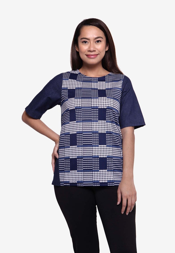 Houndstooth Top with Chambray Sleeve