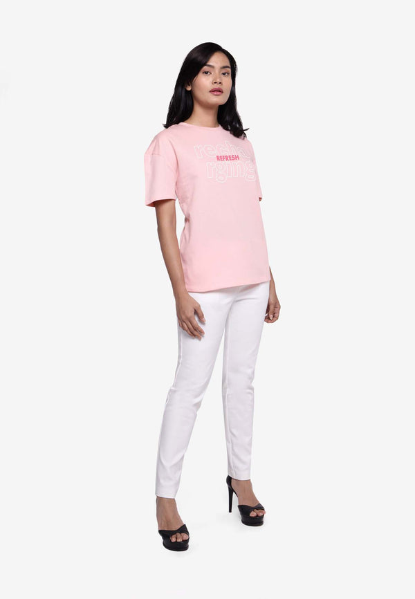 Short Sleeve Recharge & Refresh Print T-Shirt - Pink