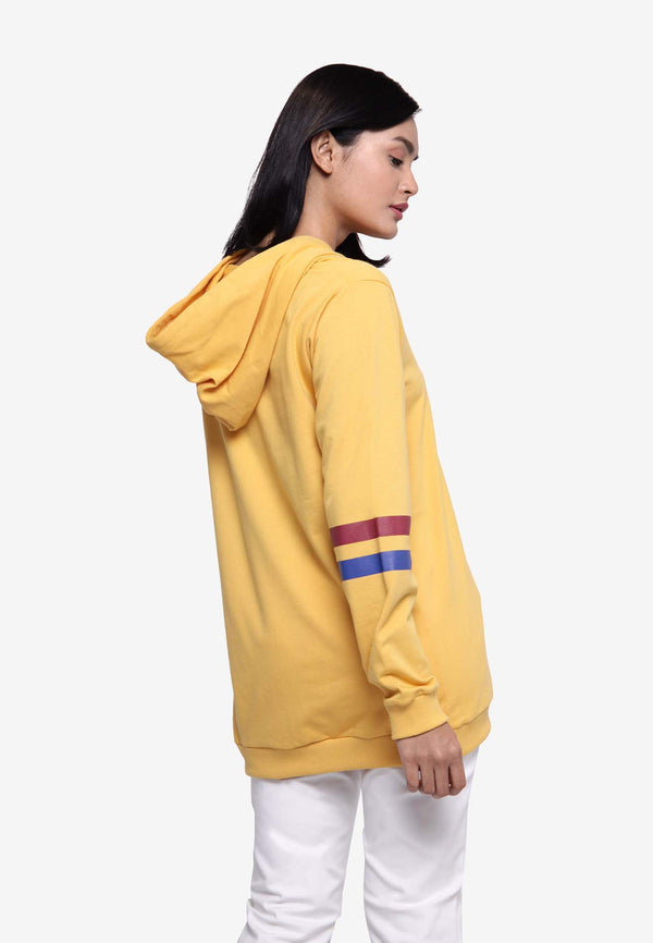 Long Sleeve Hooded Dress - Yellow