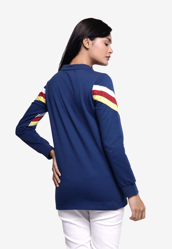 Long Sleeve Collar Zip Top - Navy