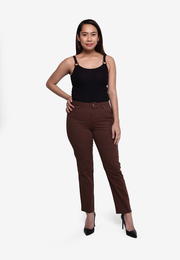 Lady Stretch Boot-Cut Pant - Brown