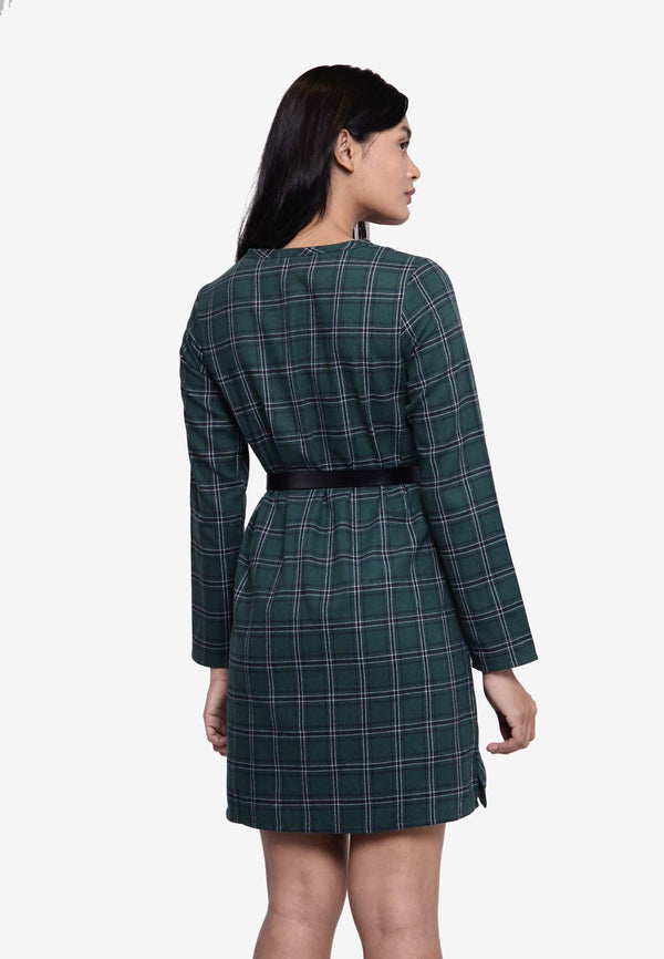 Long Sleeve Plaid Long Top/Dress - Green
