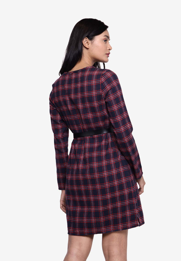 Long Sleeve Plaid Long Top/Dress - Navy