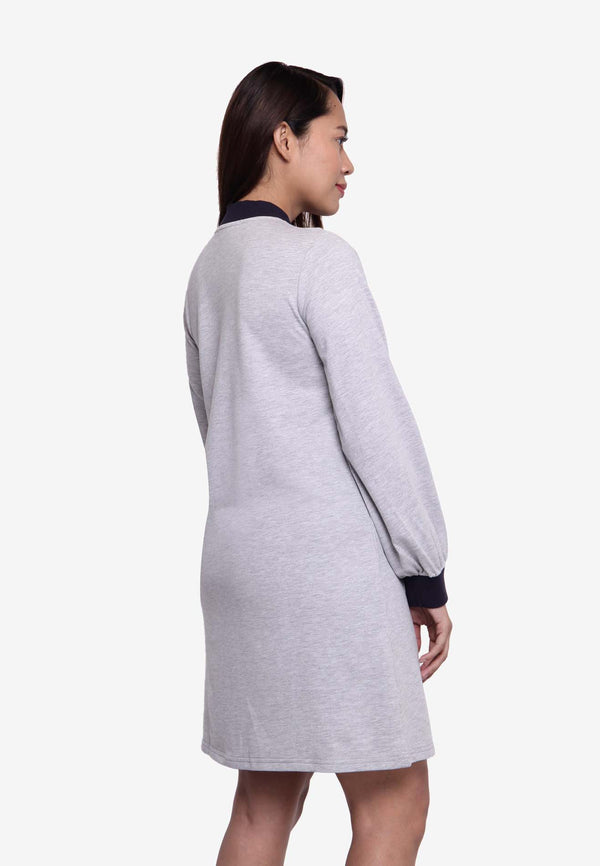 Long Sleeve Sporty Collar Zip Dress - Grey