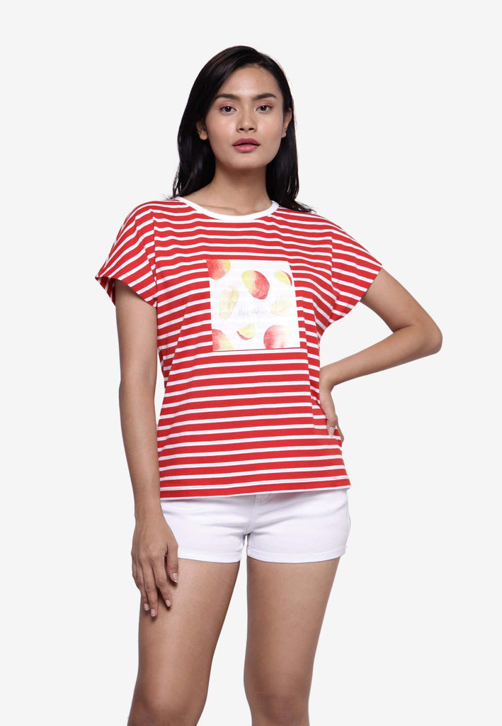 Short Sleeve Mango Fruit Striped T-shirt