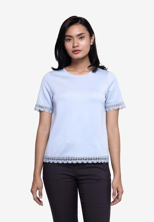 VOIR Clothing Lace Trimmed Knit Top