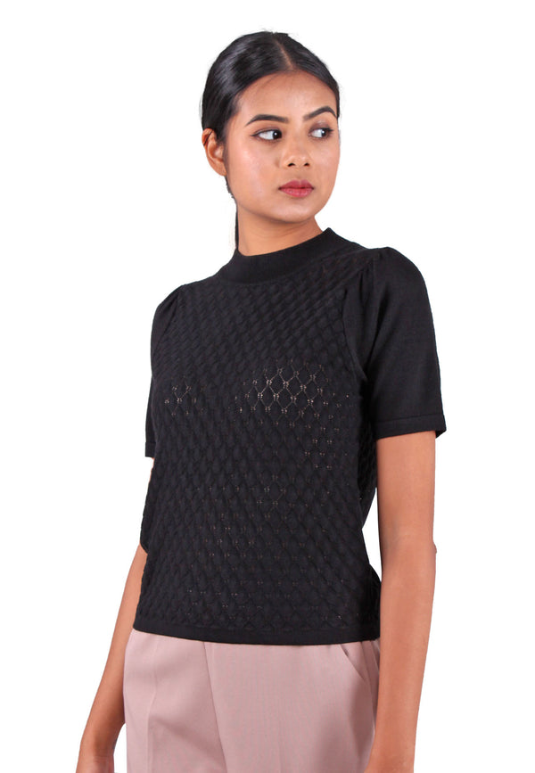 VOIR Clothing High Neck Pointelle Knit Top