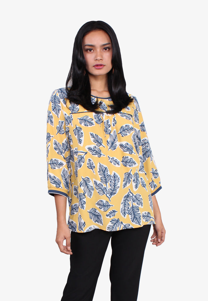 Leaves Print Long Sleeve Blouse