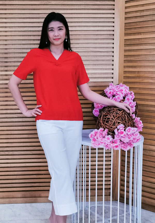 VOIR Exchange V-Neck with Oriental Button Blouse