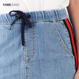 VOIR Ladies Stretchable Denim Short Skirt VJ103424-B061903