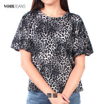 VOIR Ladies 3/4 Sleeve Leapard print Blouse VJ103472-A091905