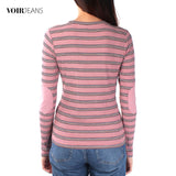 VOIR Ladies Long Sleeve Stripe Knit Top VJ103596-A241909