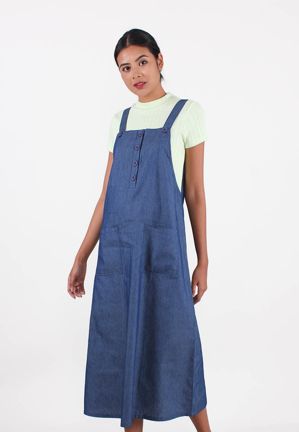 VOIR JEANS Denim Long Dungarees Dress