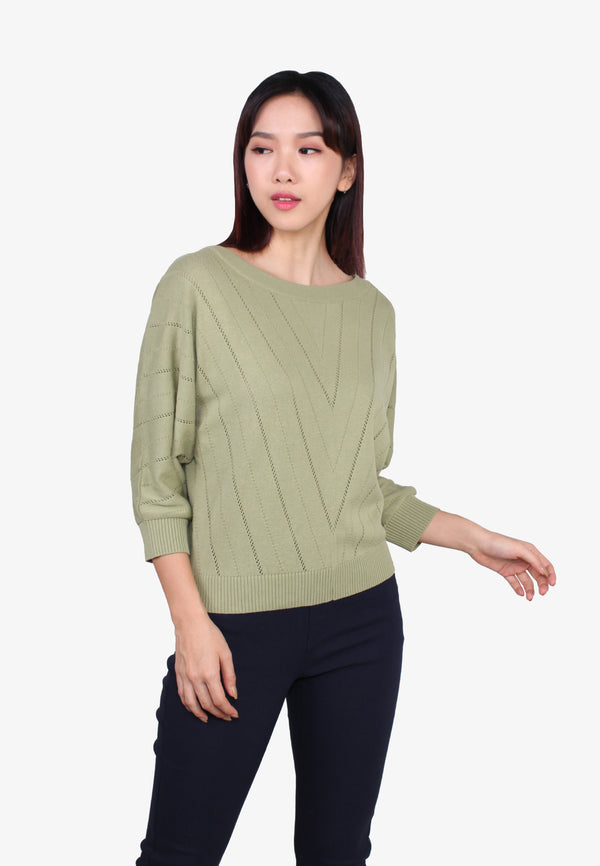 3/4 Sleeve Yam Knit Top