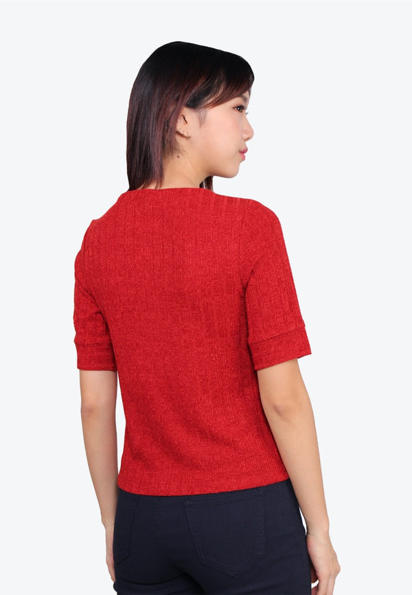 Short Sleeve Ribbed Knit Top