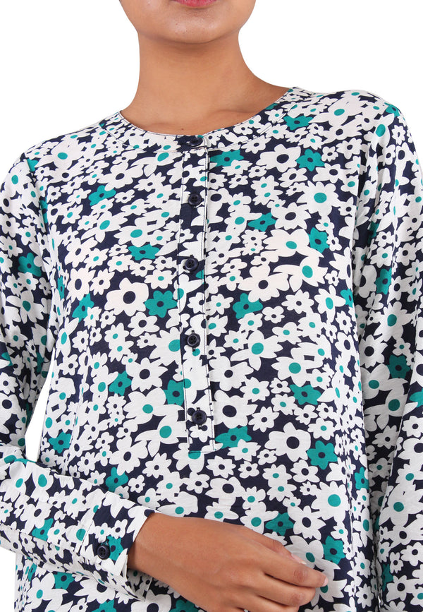 VOIR JEANS Round Neck Long Sleeves Floral Shirt