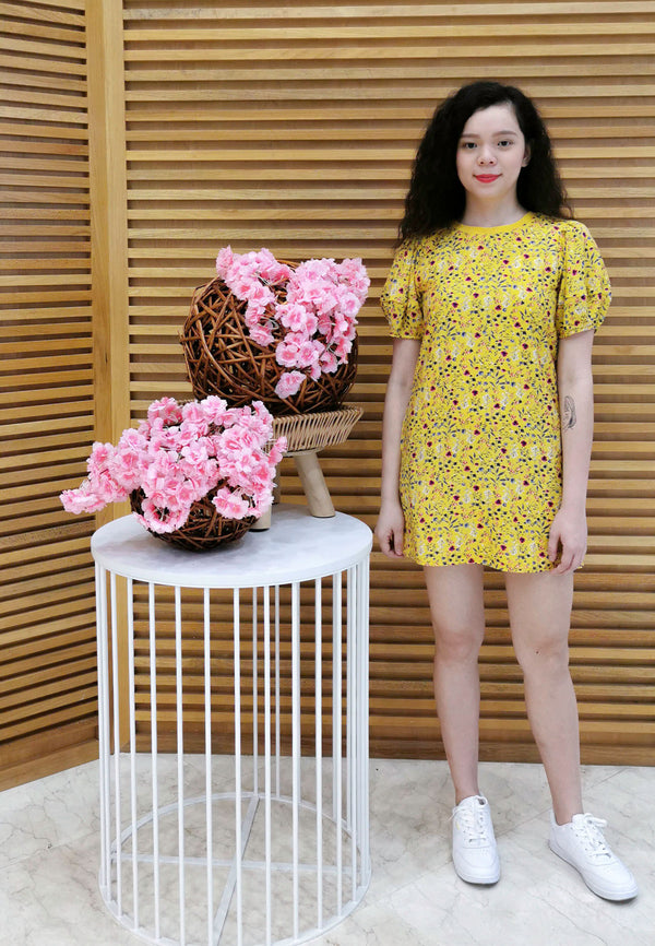 VOIR JEANS Spring Floral Puff Sleeves Day Dress