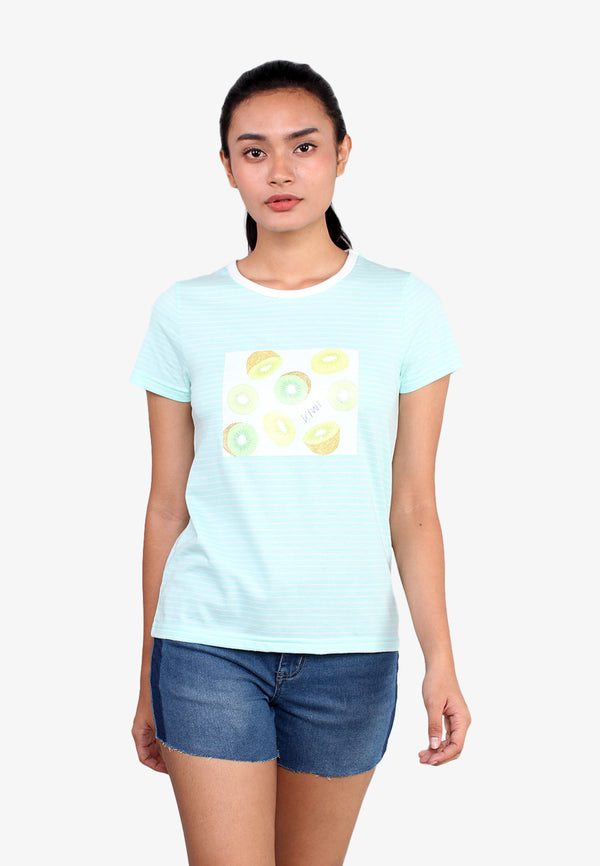 Short Sleeve Kiwi Fruit Striped T-shirt