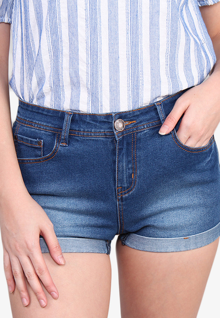 VOIR JEANS Classic Washed Out Denim Shorts