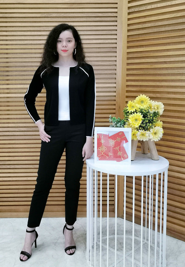 VOIR Executive Round Neck Zipper Cardigan