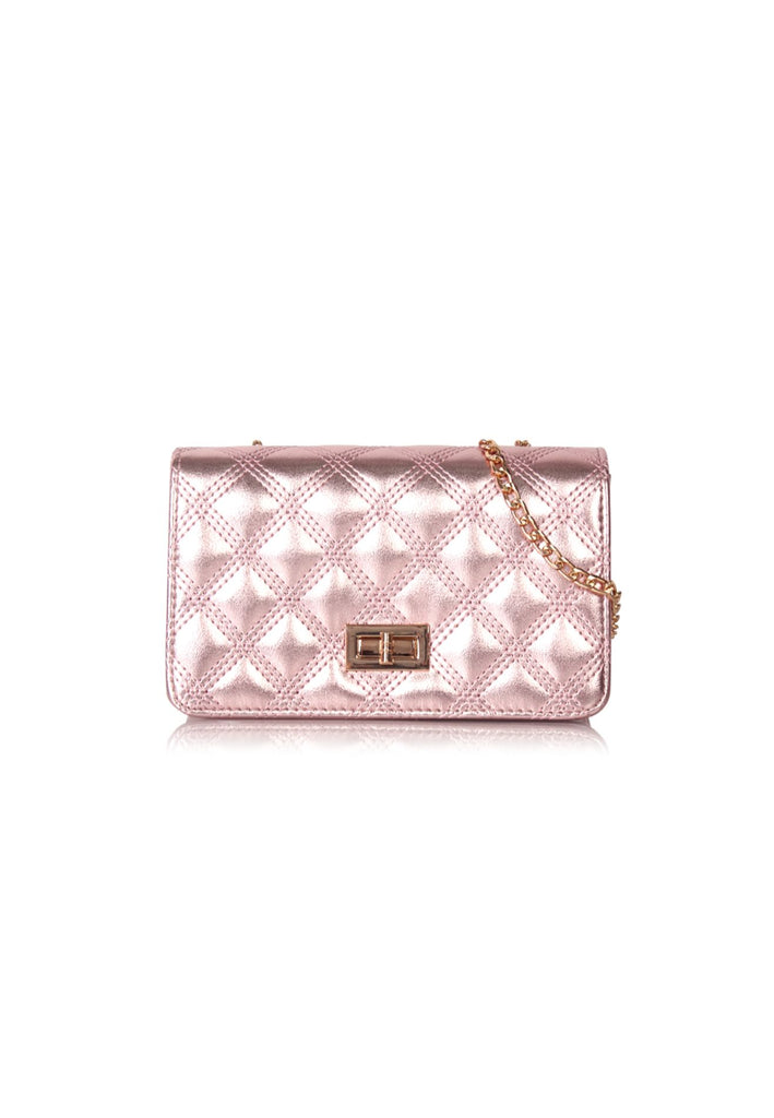 Shiny Quilted Sling Bag in Pink