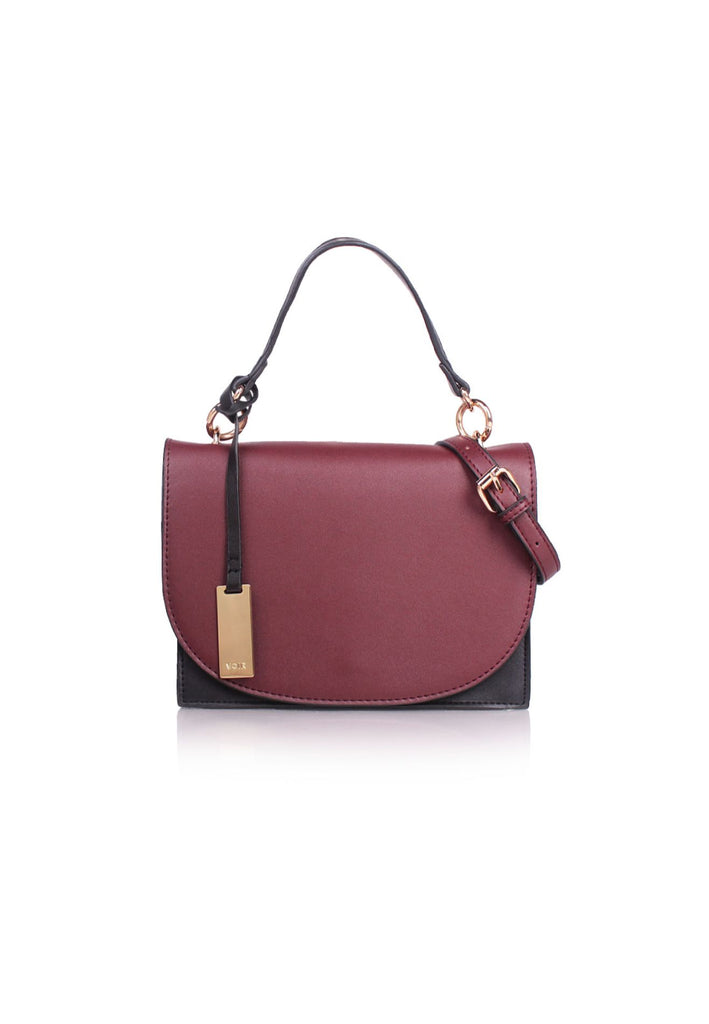 Two-Tone Top Handle Crossbody Bag