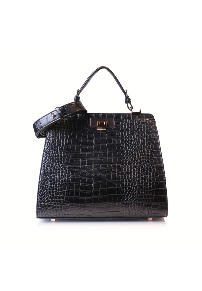 Spacious Croc Effect Handbag