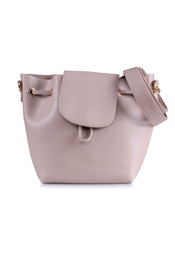 VOIR Classic Flap Drawstring Bucket Bag