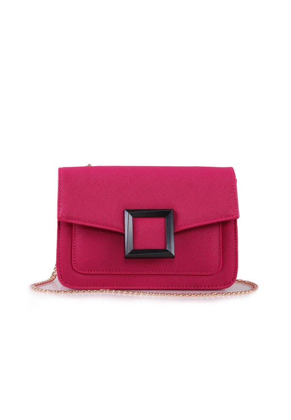 VOIR Front Square Buckle Statement Sling Bag