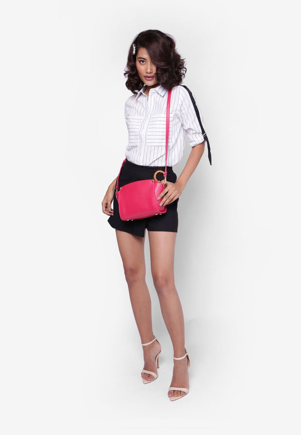 Lady Magenta Casual Trapeze Bag