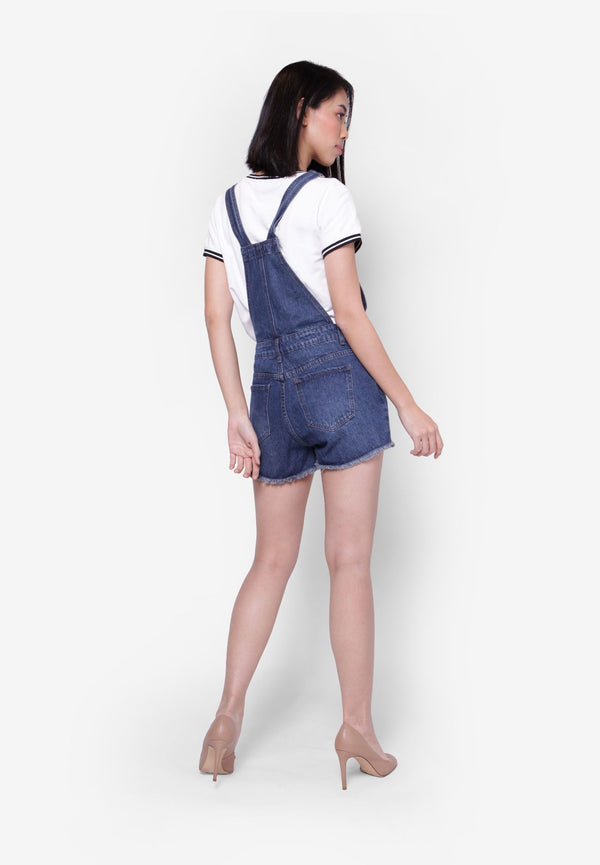 Blue Dungaree Shorts