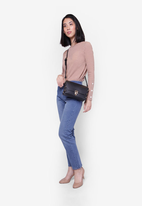 Crossbody Bag featuring Push Lock Closure
