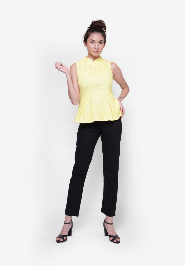 Yellow Oriental Peplum Top