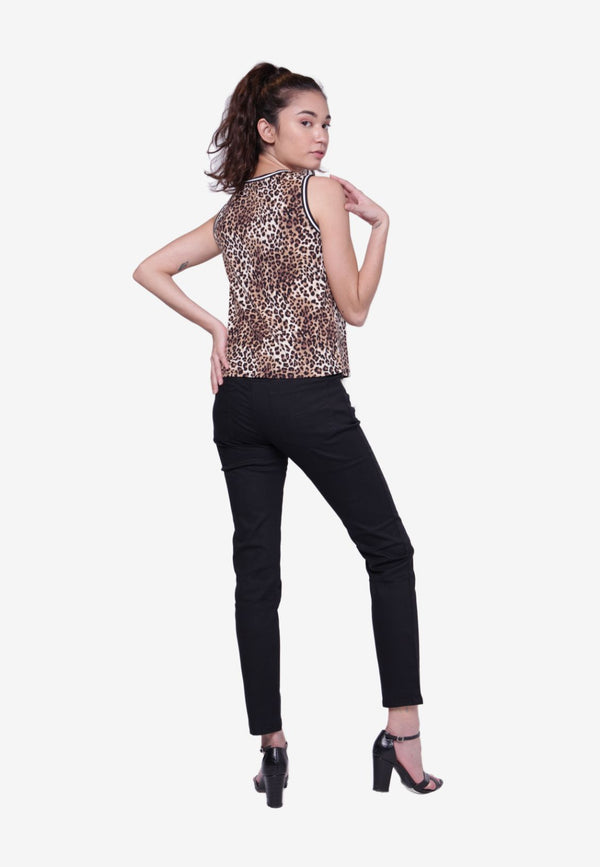 Sleeveless Leopard Print Blouse