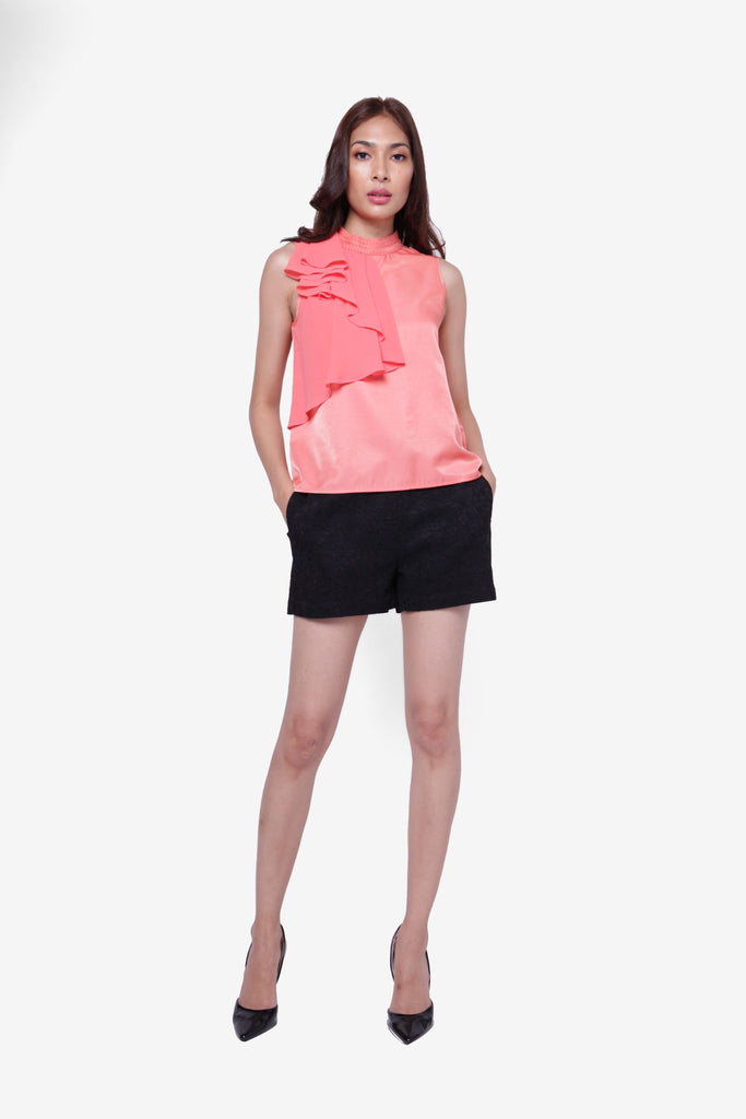 Ruffles High Neckline Top