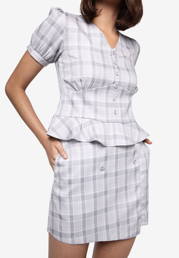 Grey Plaid Button Pocket Skirt