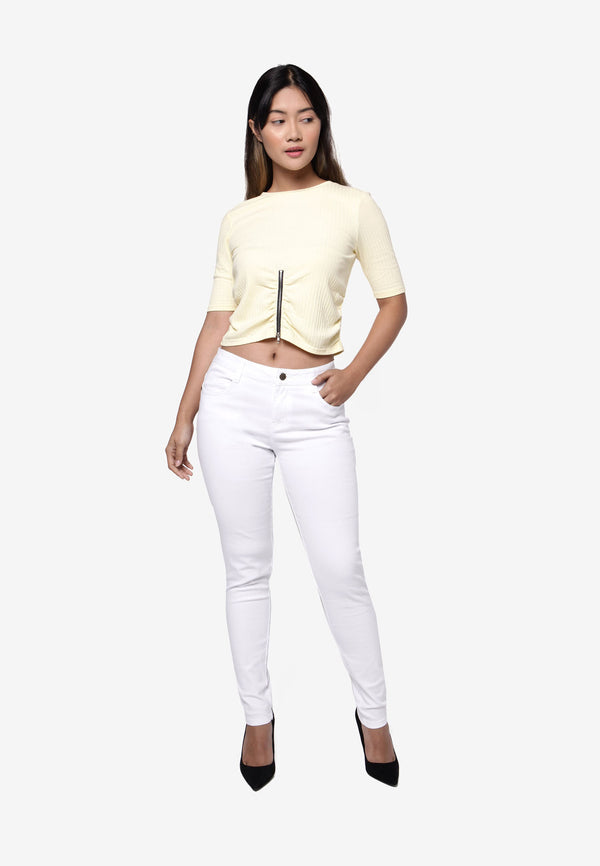 #305 Relax Slim Cut Long Pants - White