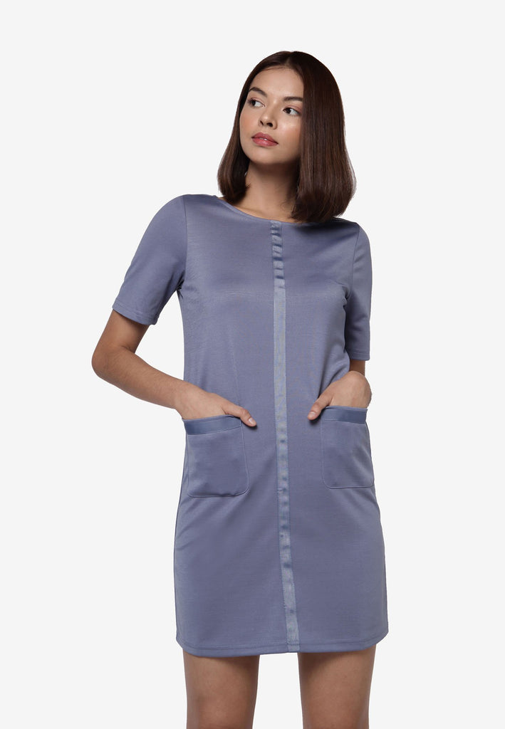 Basic Pockets Dress - Blue