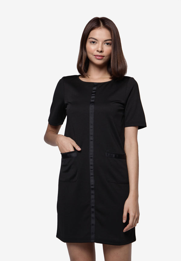 Basic Pockets Dress - Black