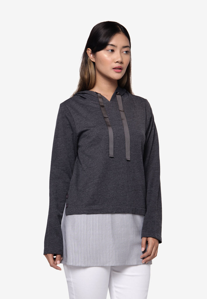 Long Sleeve Hooded Shirt - Dark Grey